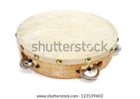 closeup of a pandereta, the spanish tambourine, on a white background - stock photo
