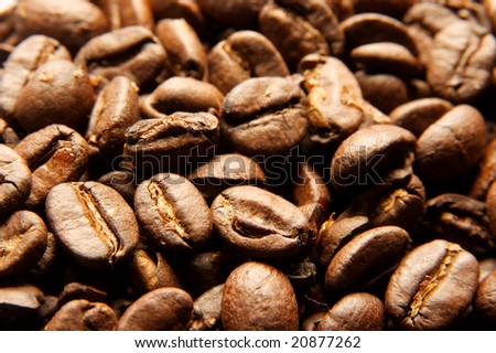 Closeup of a pile of coffee beans