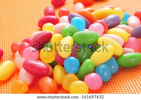 closeup of a pile of delicious jelly beans of different colors - stock photo