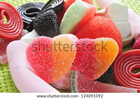 closeup of a pile of different candies - stock photo