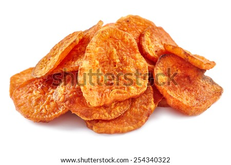 Closeup of a pile of homemade sweeet potatoes chips isolated on white background - stock photo