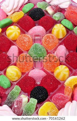 closeup of a pile of many kind of candies