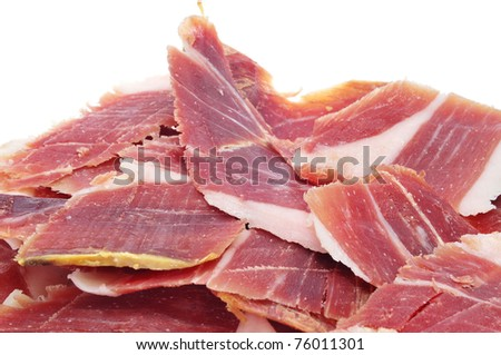 closeup of a pile of spanish serrano ham