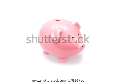 Closeup of a pink piggy bank. Isolated on white. - stock photo