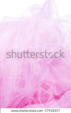 closeup of a pink tulle isolated on a white background - stock photo