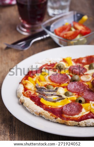 closeup of a pizza  - stock photo