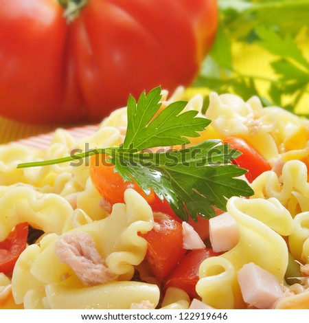 closeup of a plate with refreshing pasta salad