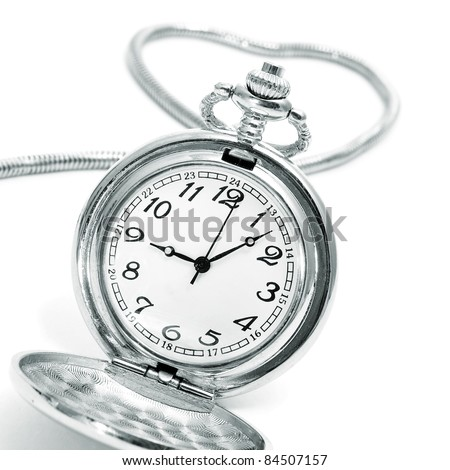 closeup of a pocket watch isolated on a white background