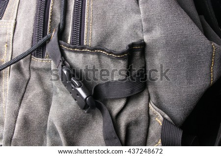 closeup of a pockets in the brown backpack