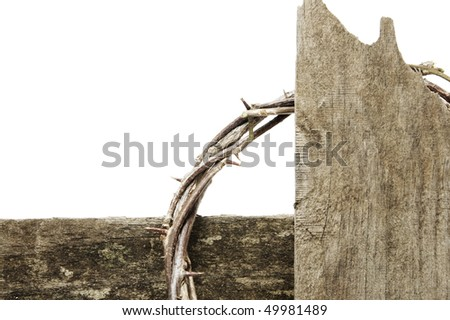 closeup of a representation of the crown of thorns and the cross of Jesus Christ - stock photo