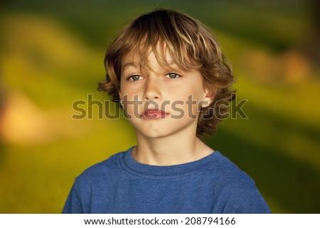 Closeup Of A Sad Child - stock photo