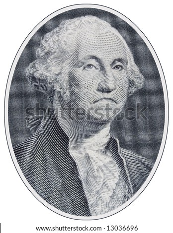 Closeup of a sad George Washington from a One Dollar Bill - stock photo