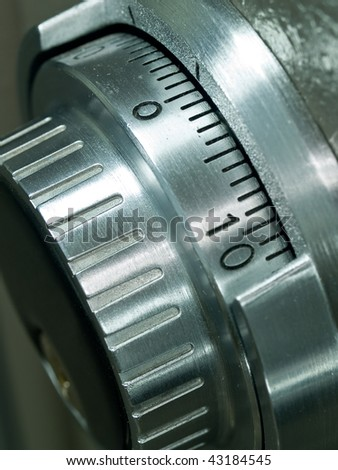 Closeup of a Safe Vault Combination Spinner - Gray Toned - stock photo