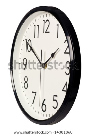 Closeup of a simple analog clock isolated on white background