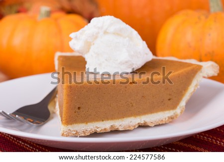 Closeup of a slice of pumpkin pie with pumpkins in background