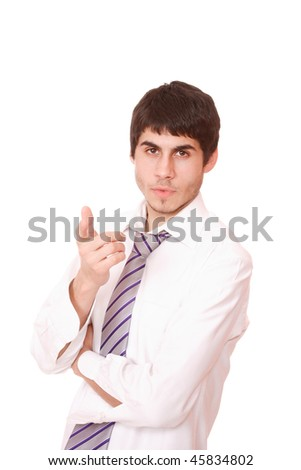 Closeup of a smiling casual business man gesturing