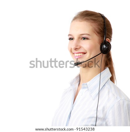 Closeup of a smiling customer service girl , isolated on white background - stock photo
