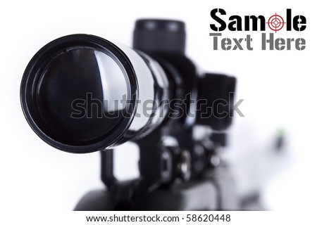 Closeup of a sniper rifle telescope scope glass lens isolated on white depicting weapon gun target concept. - stock photo
