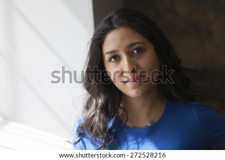 Closeup Of A Spanish Woman Smiling  - stock photo