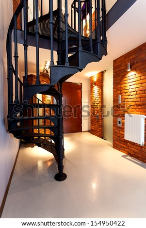Closeup of a spiral staircase in an original hall - stock photo