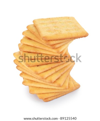 Closeup of a stack of cookies on white table