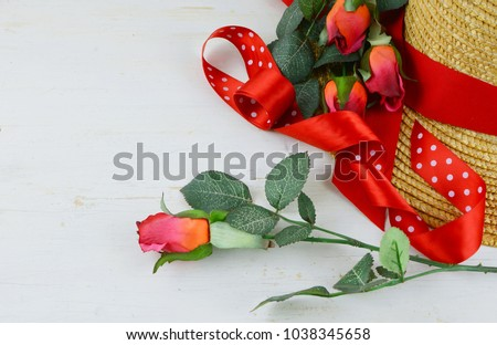 closeup straw hat being decorated red stock photo royalty free