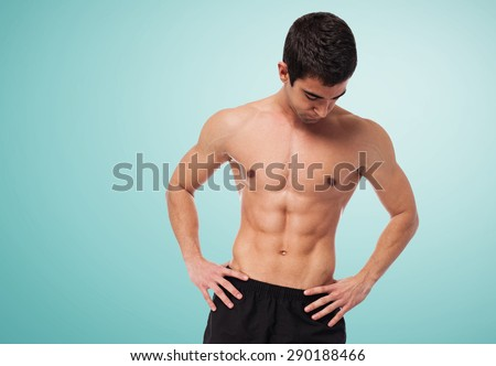 closeup of a strength fitness body over white - stock photo