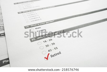 Closeup of a survey form with Retired checked - baby boomer concept