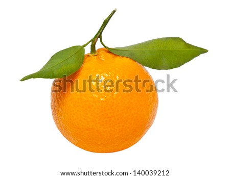 closeup of a tangerine isolated on a white background