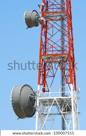 closeup of  a telecommunications tower with a clear blue sky