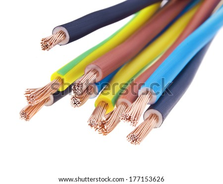 closeup of a three-phase electric cable on a white background (selective focus)