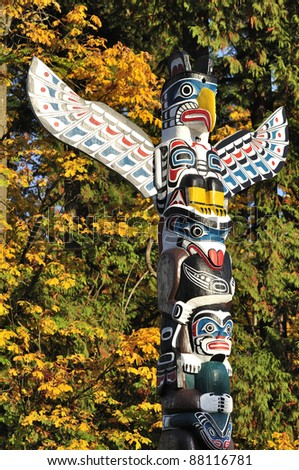 closeup of a totem - stock photo