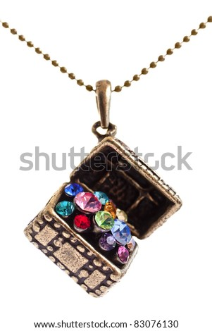 Closeup of a Treasure box jewel with colorful stones - stock photo