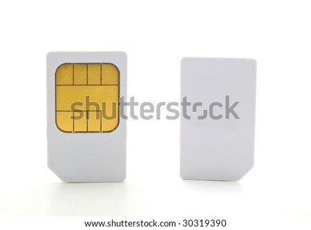 Closeup  of a two sim card for cell phones. - stock photo