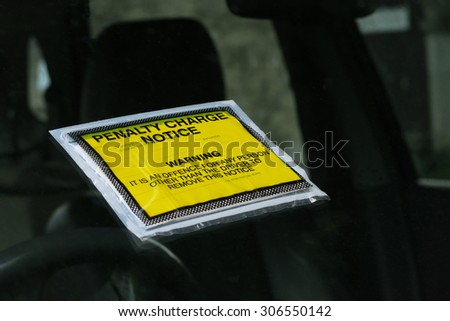 Closeup of a UK parking ticket (penalty charge notice) - stock photo