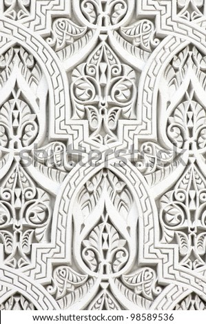 closeup of a wall of white plaster Arabic - stock photo