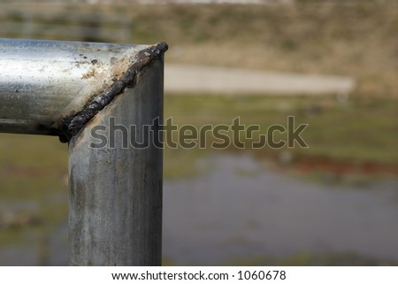 closeup of a weld (with room for text) - stock photo