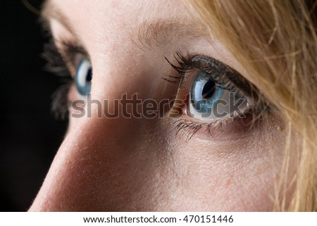 Closeup of a woman's blue eyes