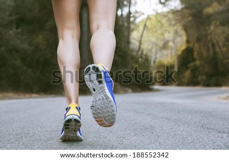 Closeup of A Women's Running Shoe - stock photo