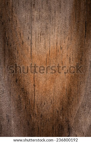 Closeup of a wood grain detail background with splits and swirl pattern - stock photo