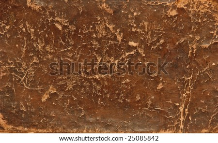 Closeup of a worn leather book cover - stock photo