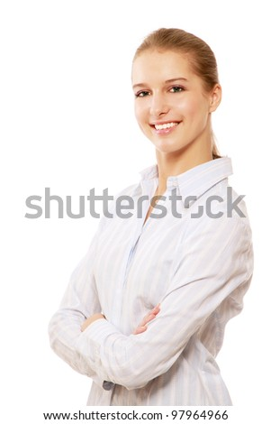 Closeup of a young successful businesswoman, isolated on white, side-view
