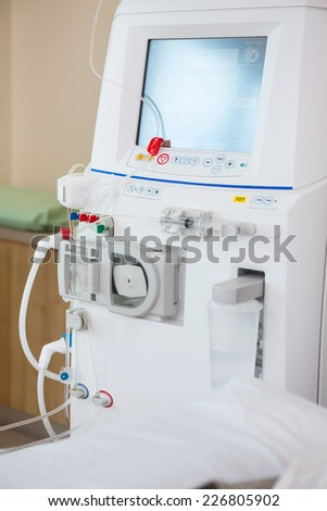 Closeup of advanced dialysis machine in chemo room at hospital - stock photo