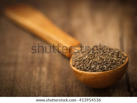 Closeup of ajwain seeds in a wooden spoon - stock photo