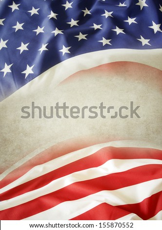 Closeup of American flag. Copy space - stock photo