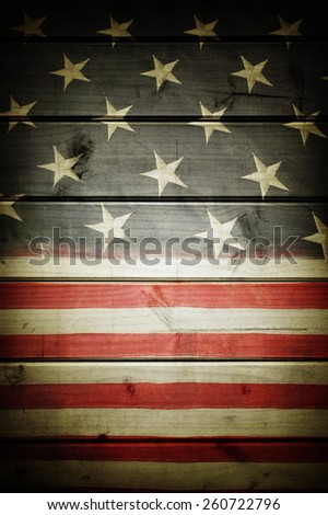 Closeup of American flag on boards - stock photo