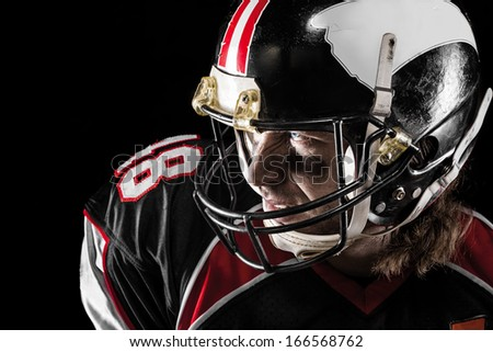 Closeup of american football player