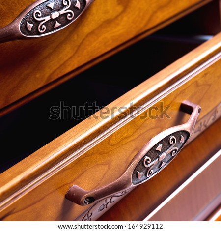 closeup of an antique drawer - stock photo