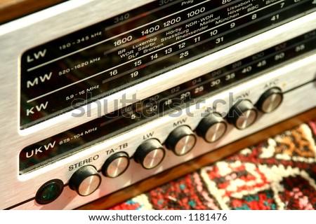 Closeup of an antique radio. No logo. Shallow DOF. - stock photo