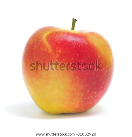 closeup of an apple on a white background - stock photo
